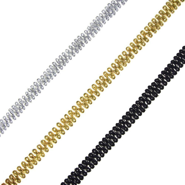 Metallic Gimp Weaved Trim, 12mm, 15-Yards