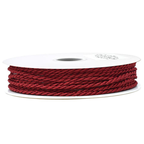 Solid Color Twisted Cord, Burgundy, 1/8-Inch, 3-Yard