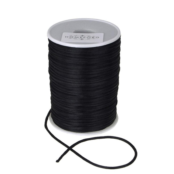 Satin Rat Tail Cord Ribbon Chinese Knot, 1/16-Inch, 100-Yard, Black