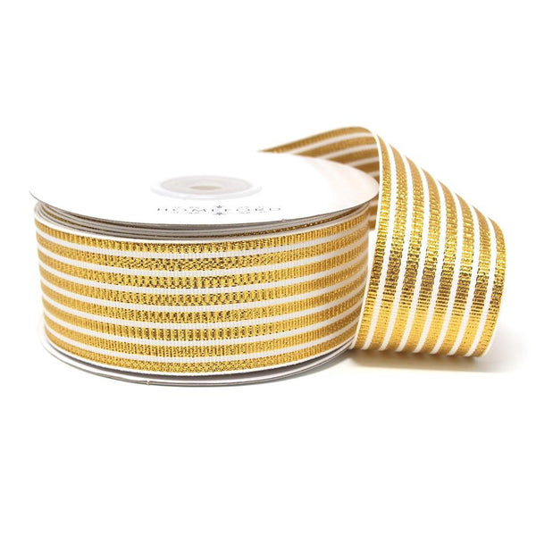 Metallic Seersucker Stripes Grosgrain Ribbon, 1-1/2-Inch, 25-Yard, Gold