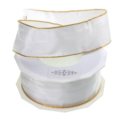 Gold Edge Taffeta Wired Ribbon, 1-1/2-Inch, 27 Yards, White
