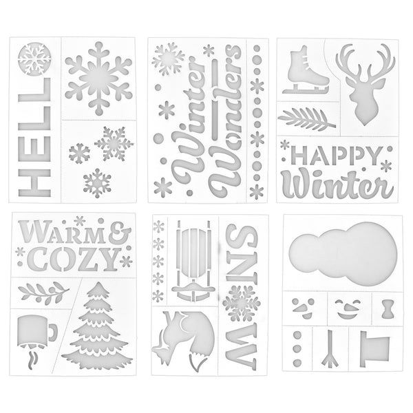 Winter Assorted Adhesive Back Paper Stencils, 8-Inch, 6-Piece