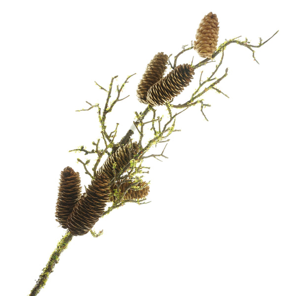 Mossy Pine Cone Branch Spray, Brown, 31-Inch