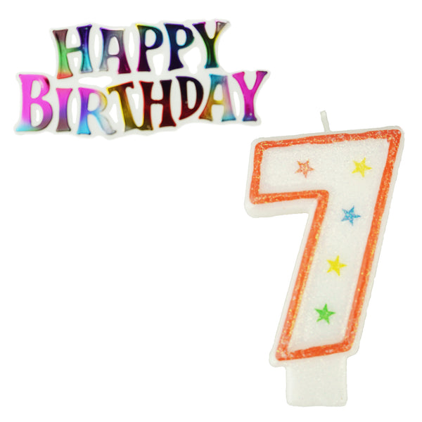 Glitter Number 7 Candle and Happy Birthday Sign, 3-3/8-Inch, 2-Piece