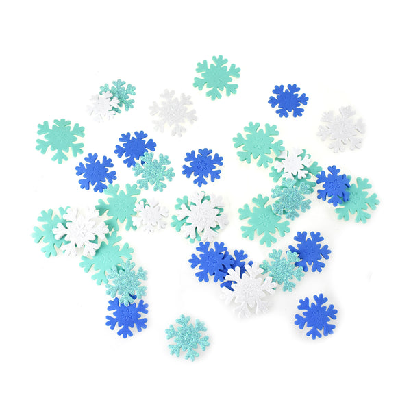 Glitter Snowflake Foam Stickers, Assorted Sizes, 60-Piece