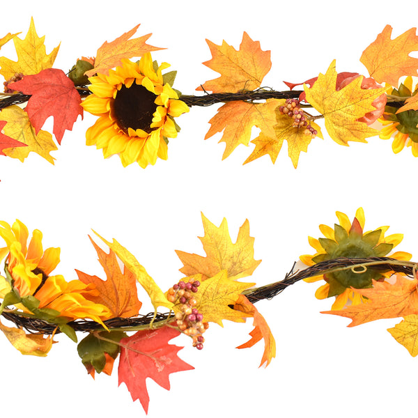 Fall Twig and Sunflower Garland, Yellow, 6-Feet
