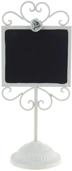 White Metal Chalkboard Framed Table Sign, 14-Inch