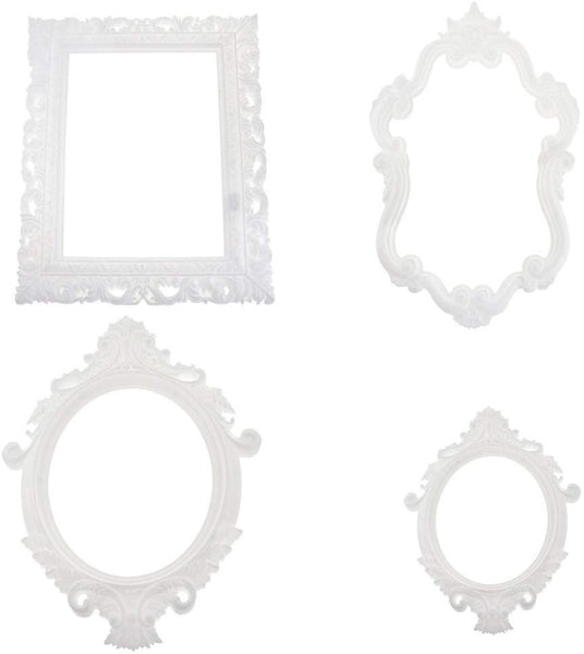 Plastic Royal Baroque Frames, White, Assorted Sizes,  4-Piece
