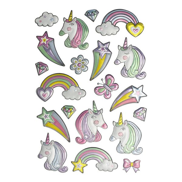 Unicorn Rainbow Foil Fun Stickers, 20-Piece