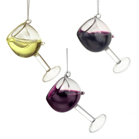 Glass Wine Glass Christmas Tree Ornaments, 4-Inch, 3-Piece