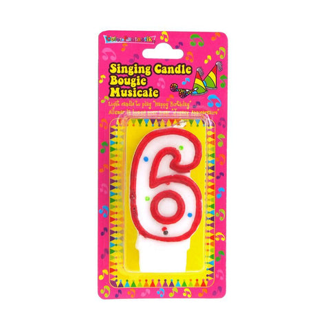 Number 6 Singing Birthday Candle, 2-1/2-Inch