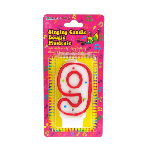Number 9 Singing Birthday Candle, 2-1/2-Inch