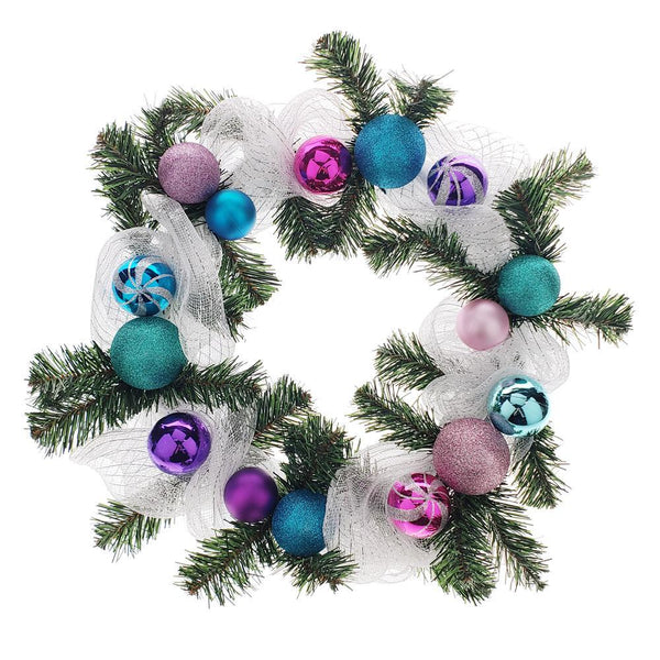 Decorated Styrofoam Christmas Wreath, Multi-Color, 21-Inch