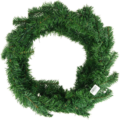 Artificial Christmas Pine Wreaths, Plain Green, 24-Inch