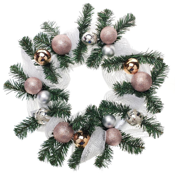 Decorated Mesh Ribbon & Rose Gold Spheres Christmas Wreath, Green/Silver, 21-Inch