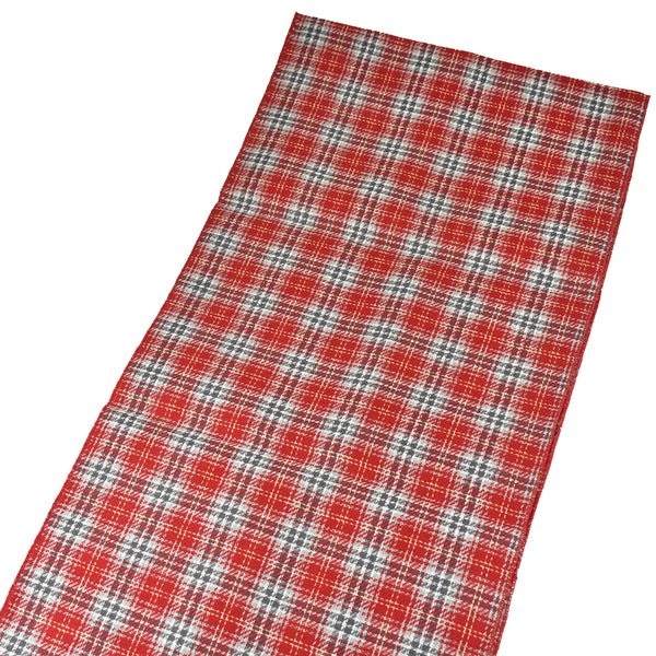 Plaid Table Runner, Red/Grey/White, 72-Inch x 14-Inch