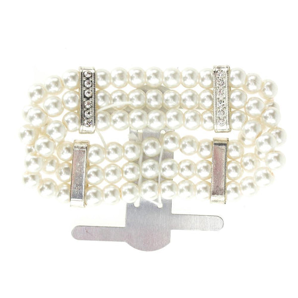 Corsage Wristlet with Pearl Band, White, 3/4-Inch
