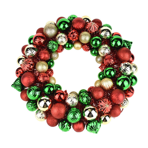 Metallic Christmas Ornament Wreath, Multicolor, 20-Inch