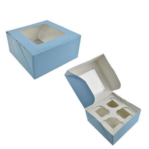 Cupcake Boxes, Light Blue, 6-1/4-Inch, 2-Count