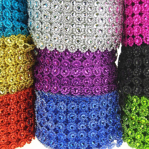 Flower Rhinestone Mesh Wrap Ribbon, 4-Inch, 10-Yard