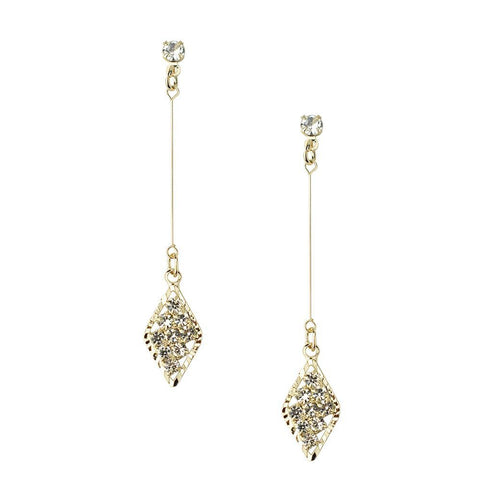 Diamond Shaped Drop Dangle Earrings, Gold, 2-Inch