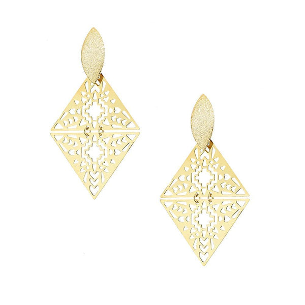 Diamond Shaped Filigree Drop Earrings, Gold, 3-Inch