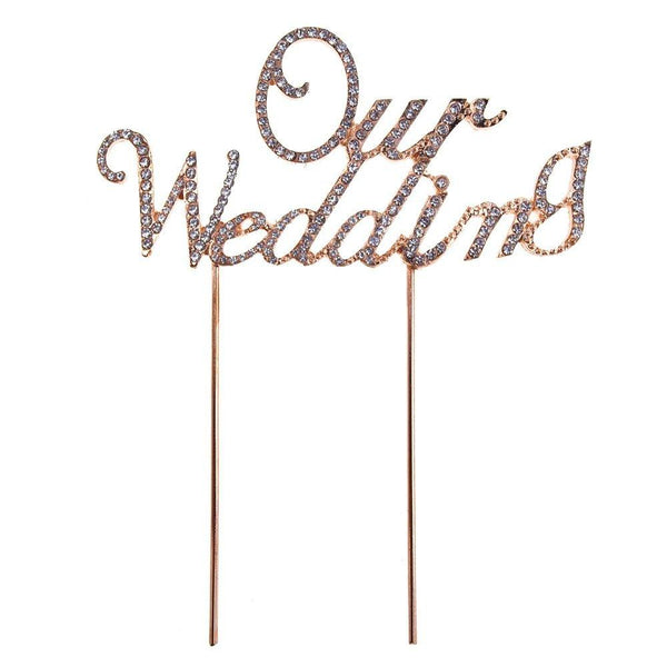 Metal Rhinestone Celebration Cake Toppers, Gold, Our Wedding