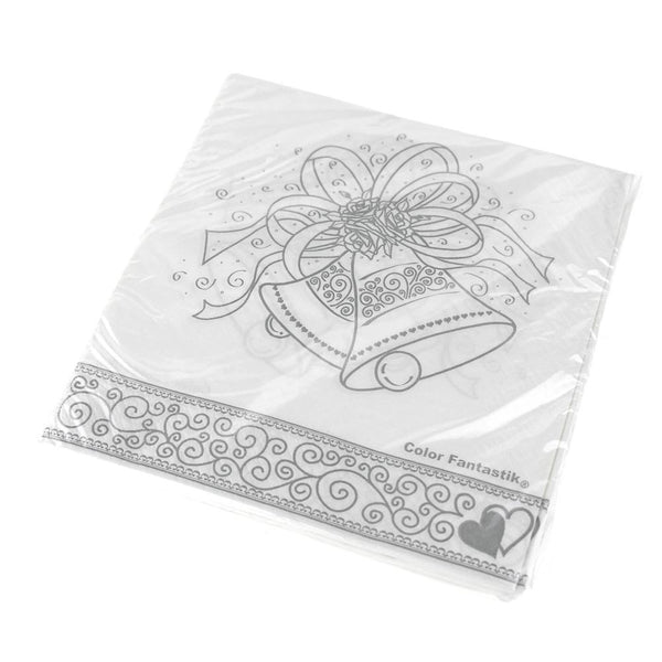 Paper Wedding Bell Printed Cocktail Napkins, White, 6-1/2-Inch, 16-Count