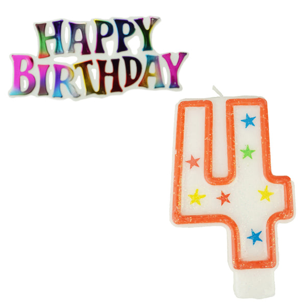 Glitter Number 4 Candle and Happy Birthday Sign, 3-3/8-Inch, 2-Piece