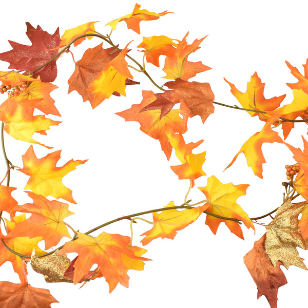 Fall Glitter Maple Leaf Garland, Orange/Yellow, 6-Feet