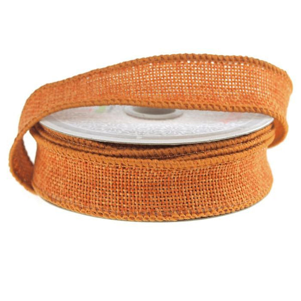 Faux Burlap Wired Edge Ribbon, 7/8-inch, 10-yard, Orange