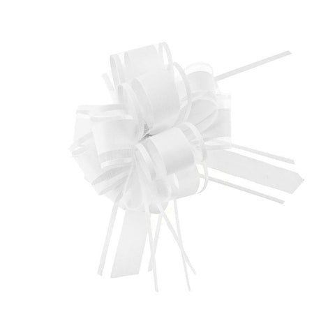 Snow Pull Bow Ribbon, 14 Loops, 1-1/4-Inch, 2-Count, White
