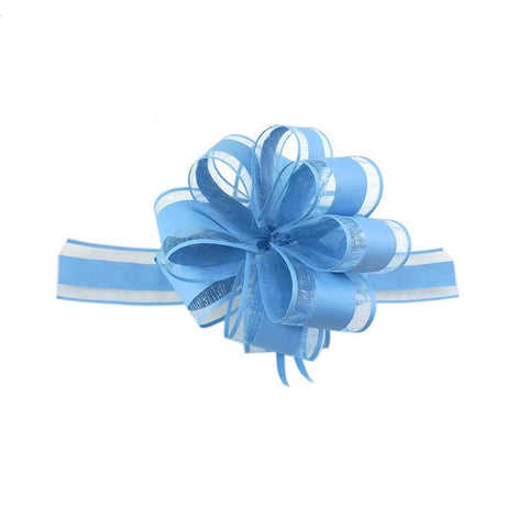 Snow Pull Bow Ribbon, Blue, 14 Loops, 2-Inch, 2-Count