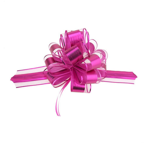 Snow Pull Bow Ribbon, Fuchsia, 14 Loops, 2-Inch, 2-Count