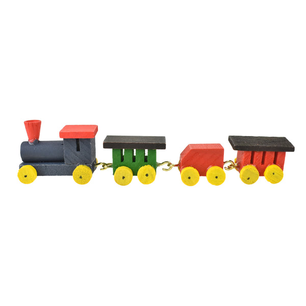 Miniature Wood Train Figurines, 1-Inch, 4-Piece