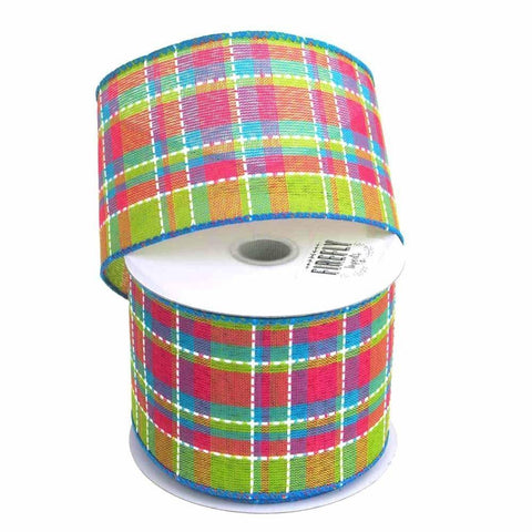 Colorful Dash Plaid Polyester Ribbon Wired Edge, 2-1/2-Inch, 10 Yards, Turquoise