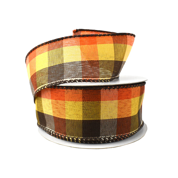 Square Plaid Wired Ribbon, Orange/Brown/Yellow/Cream, 1-1/2-Inch, 10-Yard