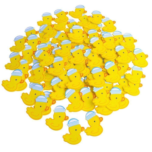 Small Wooden Rubber Ducky with Hat, Blue, 1-1/2-Inch, 100-Piece