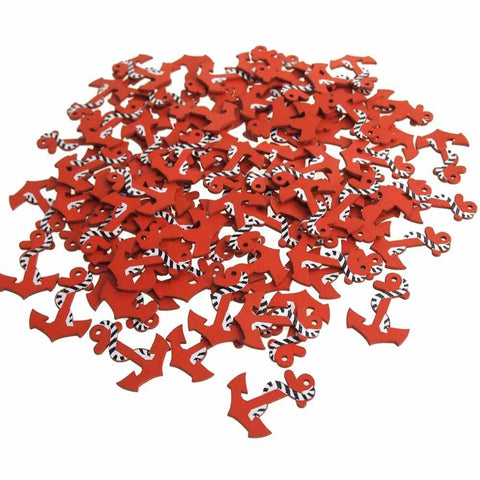 Nautical Anchor Wooden Baby Favors, Red, 1-1/2-Inch, 100-Piece