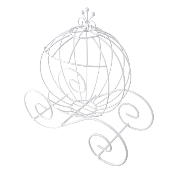 Metal Wire Pumpkin Coach, 15-Inch, White