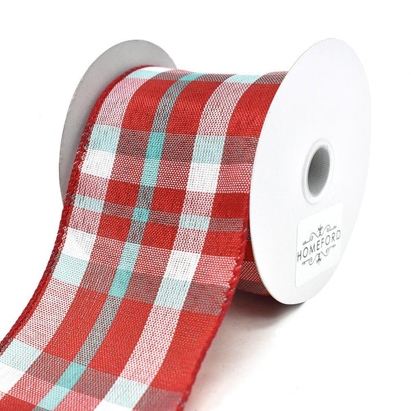 Color Chic Plaid Wired Edge Linen Ribbon, 2-1/2-Inch, 3-Yard, Red/White/Aqua