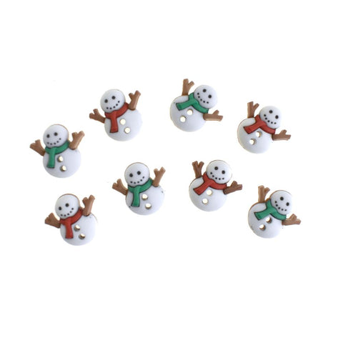 Winter Snowmen in Scarves Buttons, 5/8-Inch, 8-Piece
