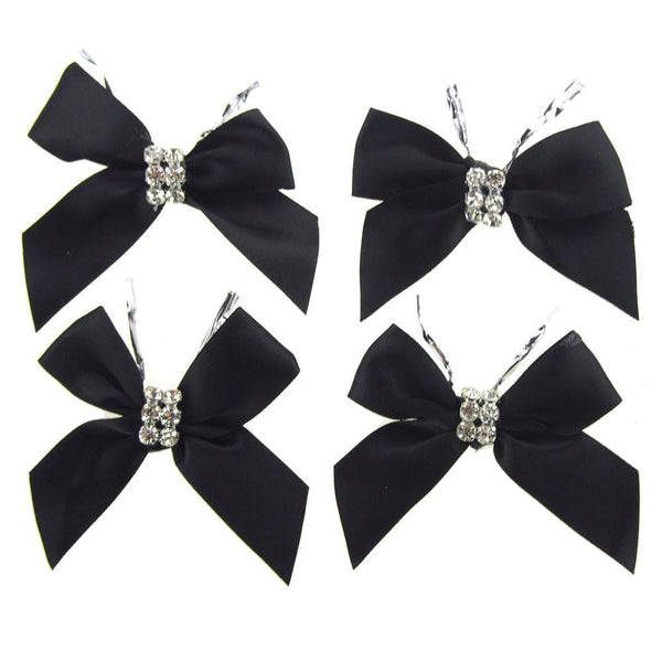 Pre-Tied Satin Bows with Rhinestone, 3-Inch, 4-Piece, Black