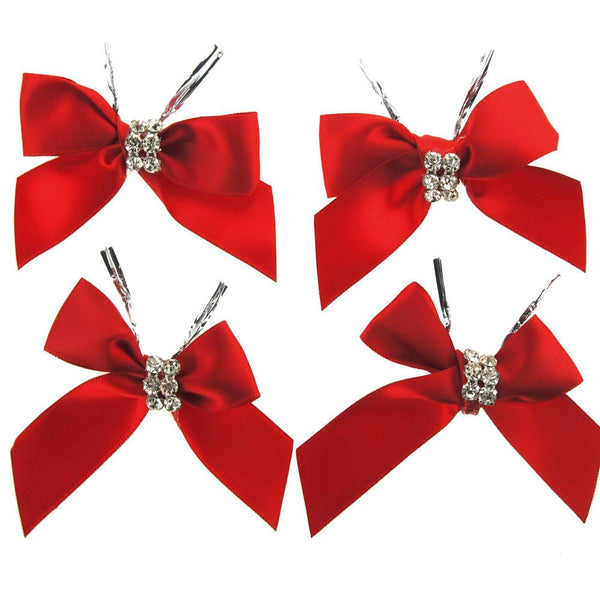 Pre-Tied Satin Bows with Rhinestone, 3-Inch, 4-Piece, Red