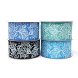 Glitter Floral Lace Satin Ribbon, 1-1/2-Inch, 3-Yard