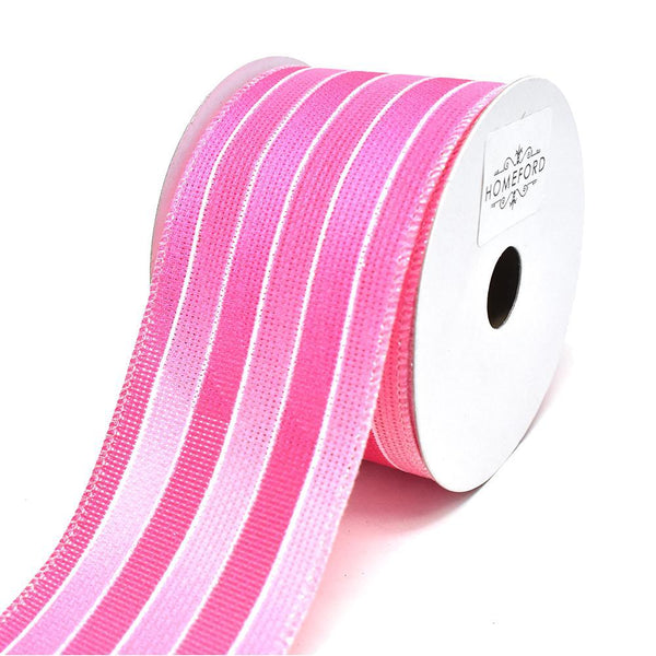 Glitter Ombre Striped Wired Ribbon, 2-1/2-Inch, 10-Yard, Hot Pink/Cerise