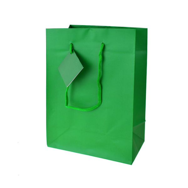 Solid Colored Matte Gift Bags with Tag, 9-1/2-Inch, Emerald