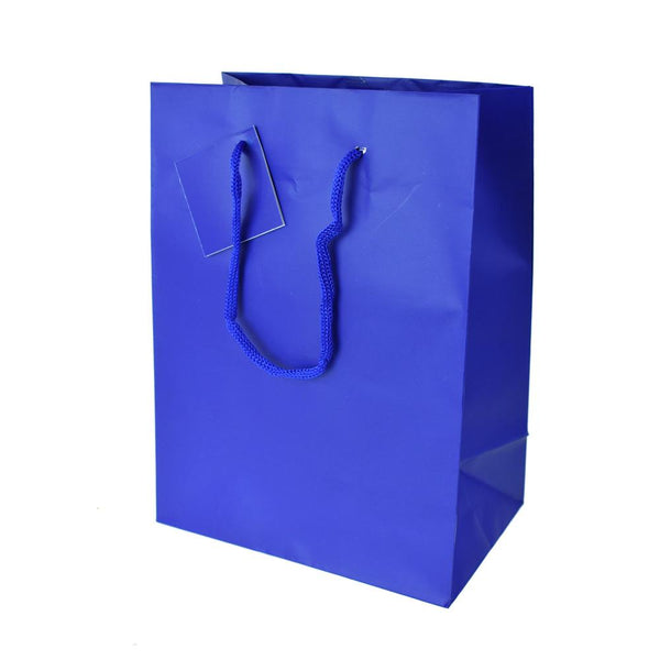 Solid Colored Matte Gift Bags with Tag, 9-1/2-Inch, Royal Blue