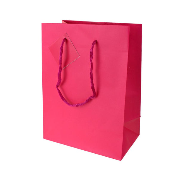 Solid Colored Matte Gift Bags with Tag, 9-1/2-Inch, Fuchsia