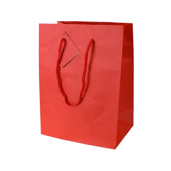 Solid Colored Matte Gift Bags with Tag, 9-1/2-Inch, Red
